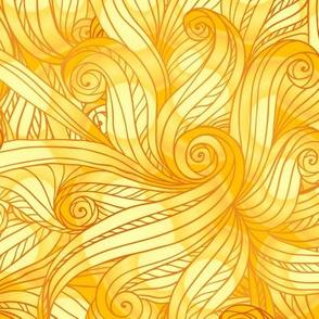 Golden curls seamless pattern