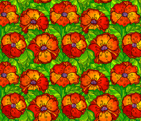 Red poppy flowers seamless pattern fabric by art_of_sun on Spoonflower - custom fabric