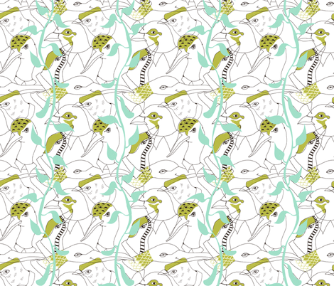birds fabric by mummysam on Spoonflower - custom fabric