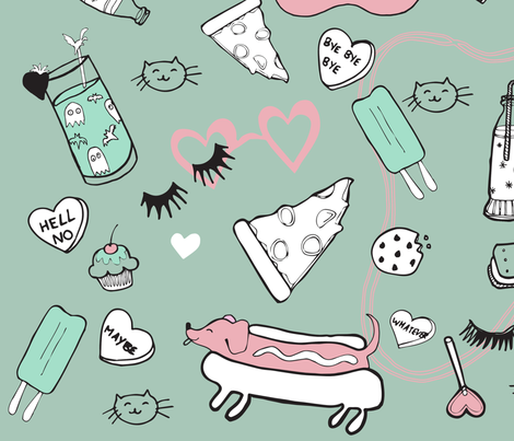 slumber party fabric by hotdogjenny on Spoonflower - custom fabric