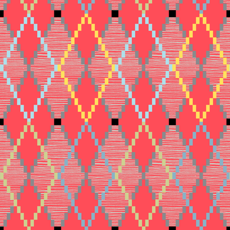 Penny Loafer (8-Bit Red) || pixel pixelated 80s argyle preppy fashion geek chic nerd geometric diamonds fabric by pennycandy on Spoonflower - custom fabric