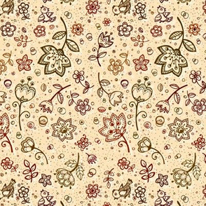 Hand-drawn flowers vintage pattern