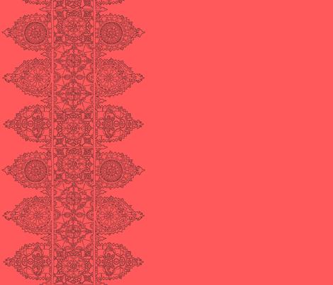 Coral dark lace -trim fabric by lazydee on Spoonflower - custom fabric