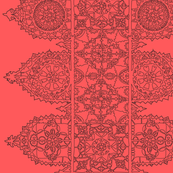 Coral dark lace -trim