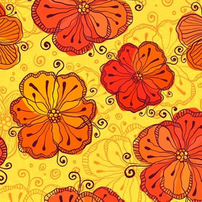 Red flowers on yellow background