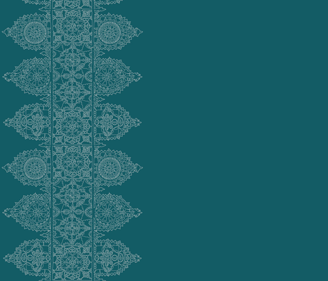 Teal Lace - trim fabric by lazydee on Spoonflower - custom fabric