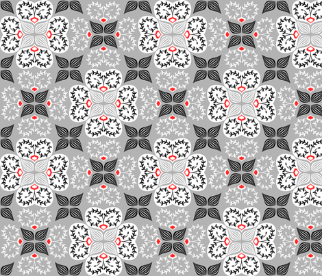 flowers-may13-grey fabric by gaiamarfurt on Spoonflower - custom fabric