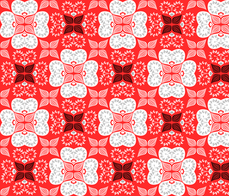 flowers-may13-red fabric by gaiamarfurt on Spoonflower - custom fabric