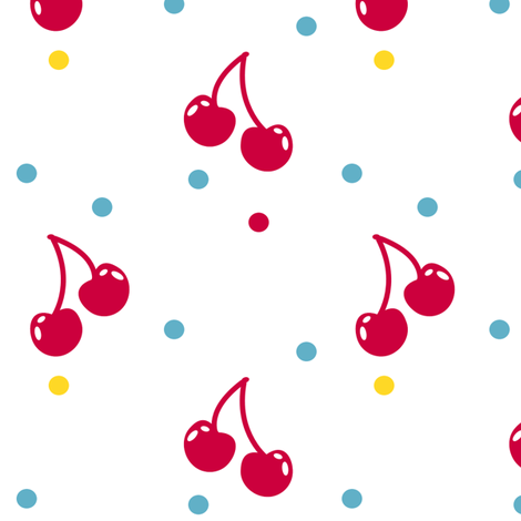Cherry Cherry Dot! - Sweet Birds of Summer - Summer Party - © PinkSodaPop 4ComputerHeaven.com fabric by pinksodapop on Spoonflower - custom fabric