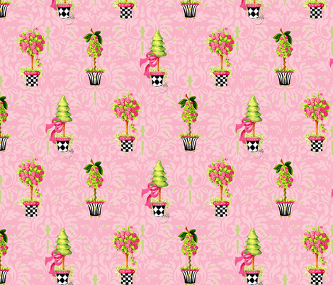 Topiary_Pink_Damask fabric by kelly_a on Spoonflower - custom fabric