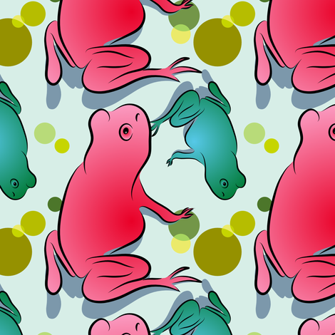 Frogs and Green Bubbles on Pale Aqua fabric by anderson_designs on Spoonflower - custom fabric