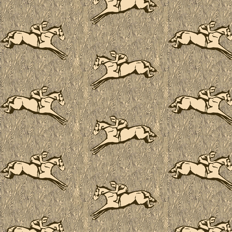 Steeplechasers on Wood grain fabric by ragan on Spoonflower - custom fabric