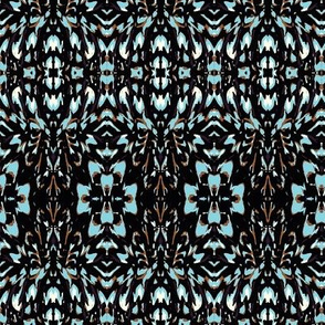 floral brown and blue flower motif