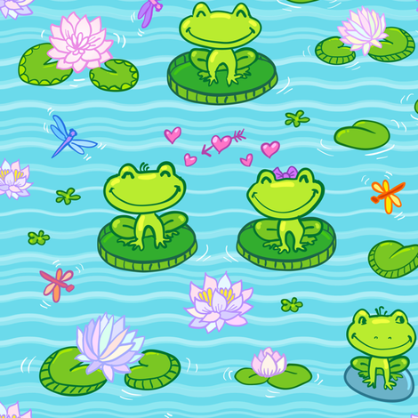 Little frogs in love fabric by art_of_sun on Spoonflower - custom fabric