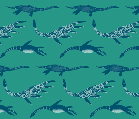 Graceful Plesiosaurs fabric by halfaringcircus on Spoonflower - custom fabric