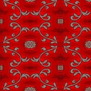 red and gray batik flower motif