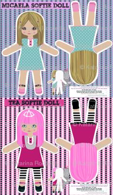 Dolls, DIY cut and sew softie ragdolls-2 different types