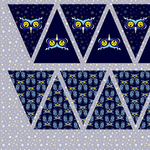 Midnight Owl. Bright eyes in blue bunting.