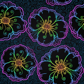 Ornate neon flowers
