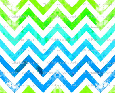 watercolor chevron blues greens