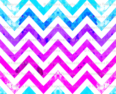 watercolor chevron blues pinks