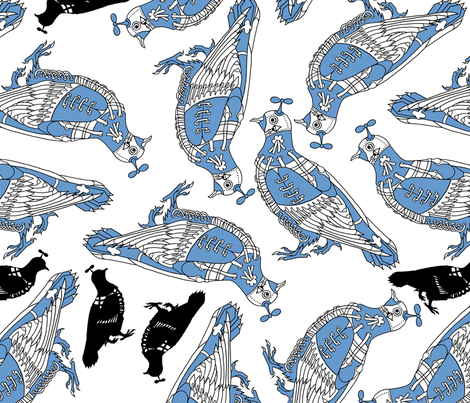 pigeon_teatowel fabric by the_old_bird on Spoonflower - custom fabric