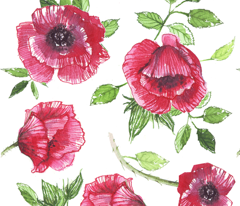 red poppies ink watercolor fabric by katarina on Spoonflower - custom fabric