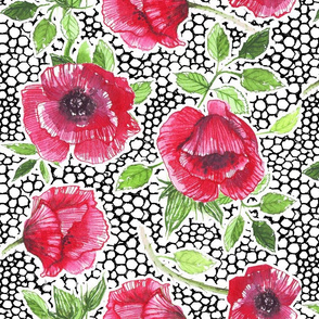 Red poppies on honeycomb