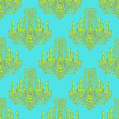 Chandelier lime/aqua