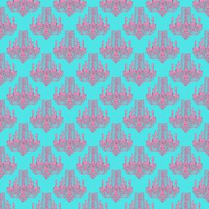Chandelier pink/aqua