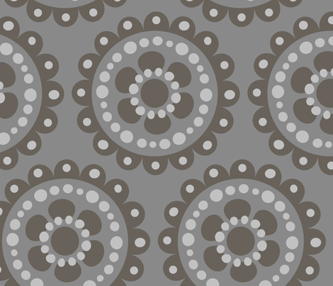 large flower medallion tonal gray fabric by juneblossom on Spoonflower - custom fabric