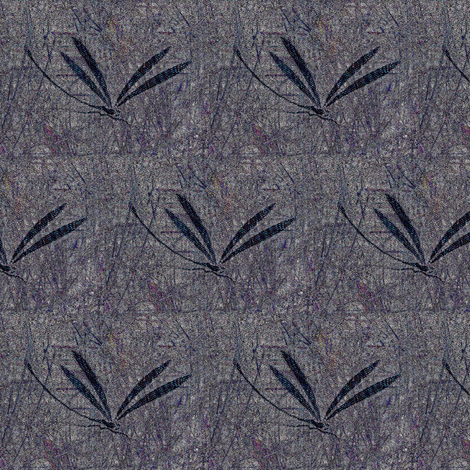 dragonfly in grass - gray, lavender