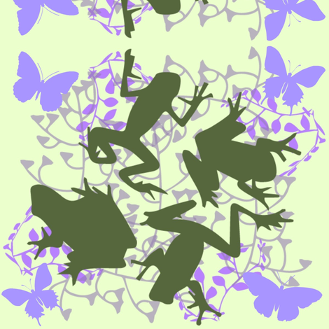 Frogs and Butterflies fabric by kfrogb on Spoonflower - custom fabric