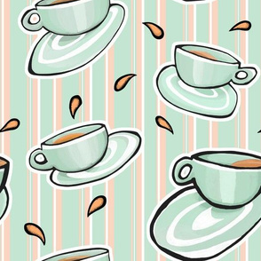 Cups Medley green on Green Orange White Stripes