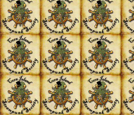 Corn Island Steampunk Society Logo fabric by madame_fyrelyte on Spoonflower - custom fabric