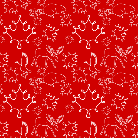 Loopy canadian animals fabric by loopy_canadian on Spoonflower - custom fabric