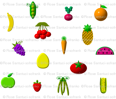 """3-D"" Fruits and Vegetables"
