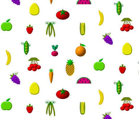 """3-D"" Fruits and Vegetables fabric by artist4god on Spoonflower - custom fabric"
