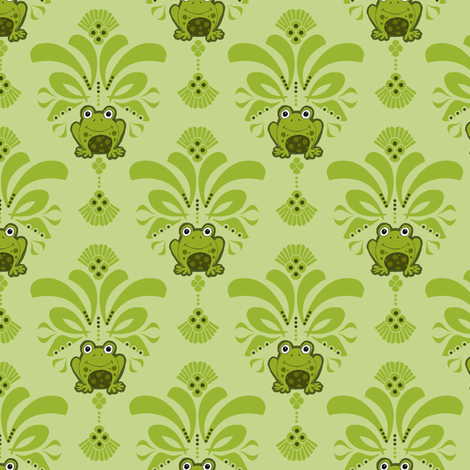 Froggy Damask fabric by dianef on Spoonflower - custom fabric