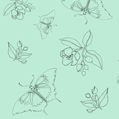 Butterflies & Crabapples - Seafoam