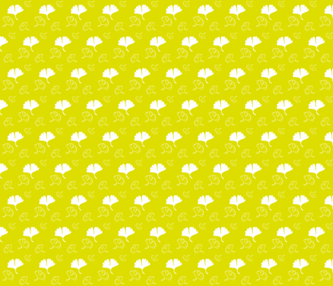 gold_bg_ginko fabric by pinkyw on Spoonflower - custom fabric