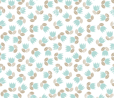 blue messy tulips grunge on white fabric by demonique on Spoonflower - custom fabric