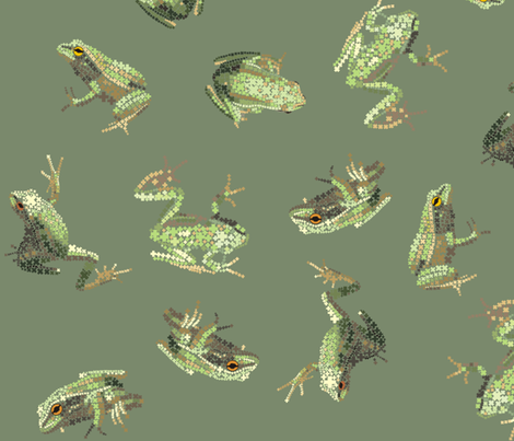 Dusky Green Amphibians fabric by smuk on Spoonflower - custom fabric