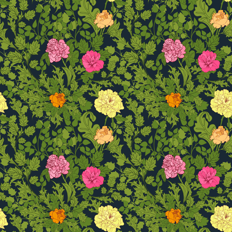 Peonies in dark background fabric by yaskii on Spoonflower - custom fabric