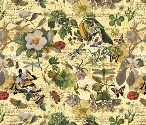 botanical-print-gold fabric by danab78 on Spoonflower - custom fabric