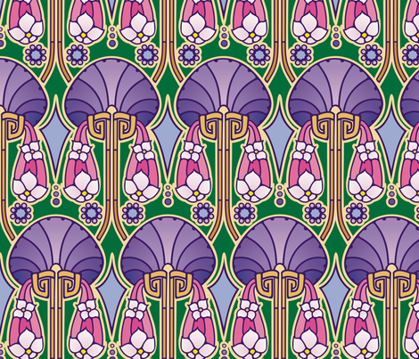 Art Deco abstract, purples fabric by hannafate on Spoonflower - custom fabric