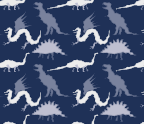Cloud dragon and dinosaurs fabric by blondfish on Spoonflower - custom fabric
