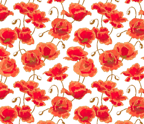 Red poppies fabric by ievgeniia on Spoonflower - custom fabric
