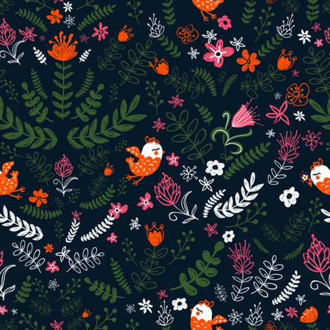 Floral pattern fabric by yaskii on Spoonflower - custom fabric