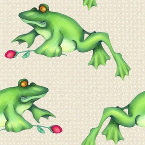 Froggy Love Leap white dots on cream